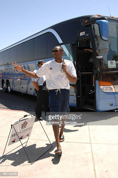 Kobe Bryant of the USA Basketball Men's Senior National Team shows up for training camp on August 15 2007 at Valley High School in Las Vegas Nevada...