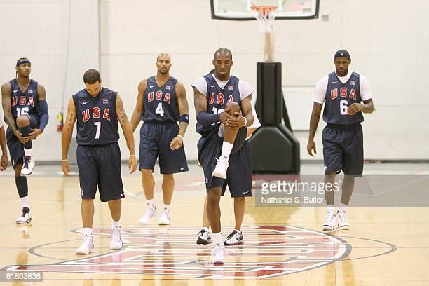 Kobe Bryant of the USA Basketball Senior Men's Team leads the pack during the USA Basketball Senior Men's Team Training Camp on June 28 2008 at the...