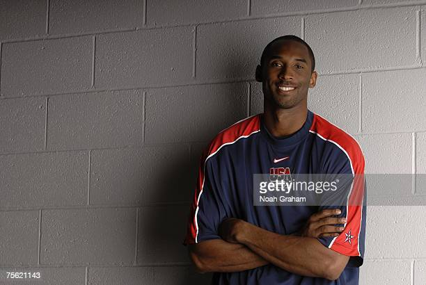 Kobe Bryant of the USA Men's Senior National Basketball Team's poses for a portrait on the first day of practice on July 20 2007 at Cox Pavilion in...
