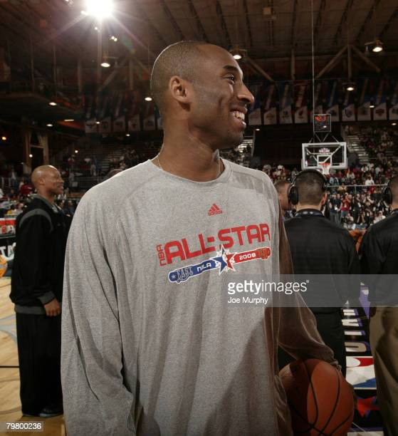 Kobe Bryant of the West AllStars smiles during the West AllStar Practice on center court during NBA Jam Session Presented by Adidas on February 16...