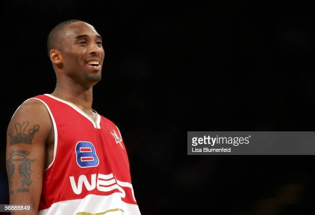Kobe Bryant of the West Team smiles during the second half of the 2006 NBA AllStar Game at the Toyota Center on February 19 2006 in Houston Texas...