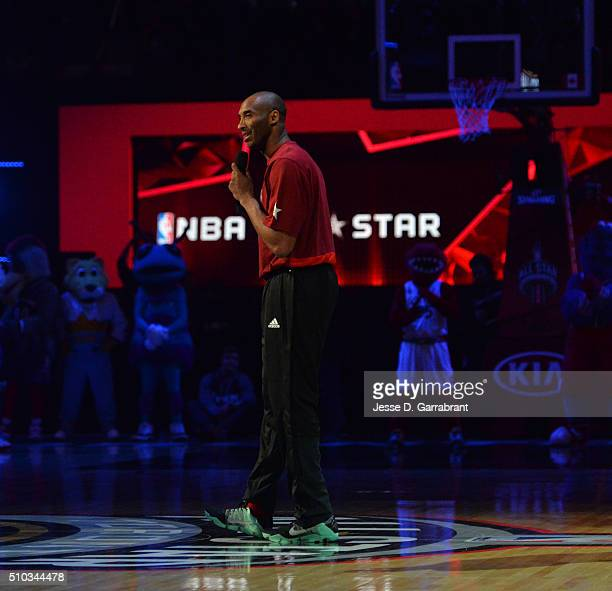 Kobe Bryant of the Western Conference AllStars addresses the crowd prior to the NBA AllStar Game as part of the 2016 NBA All Star Weekend on February...