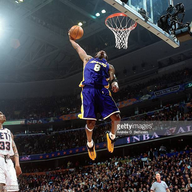 Kobe Bryant of the Western Conference AllStars attempts a dunk against the Eastern Conference AllStars during the 2001 NBA AllStar Game held on...