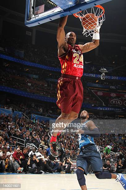 Kobe Bryant of the Western Conference All-Stars dunkss while playing against the Eastern Conference All-Stars during the 2012 NBA All-Star Game...