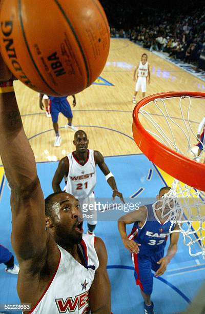 Kobe Bryant of the Western Conference AllStars go in for a slam dunk against the Eastern Conference AllStars during the 54th AllStar Game part of...