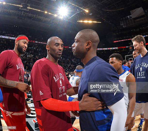 Kobe Bryant of the Western Conference AllStars is greeted by Dwyane Wade after playing in his last NBA AllStar Game as part of the 2016 NBA All Star...