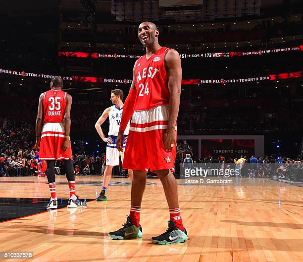 Kobe Bryant of the Western Conference AllStars looks on during the NBA AllStar Game as part of the 2016 NBA All Star Weekend on February 14 2016 at...