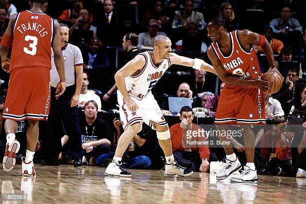 Kobe Bryant of the Western Conference AllStars looks to drive against Jason Kidd of the Eastern Conference AllStars during the 52nd NBA AllStar Game...
