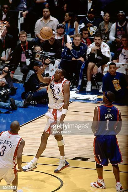 Kobe Bryant of the Western Conference AllStars puts up a shot against the Eastern Conference AllStars during the 2004 AllStar Game on February 15...