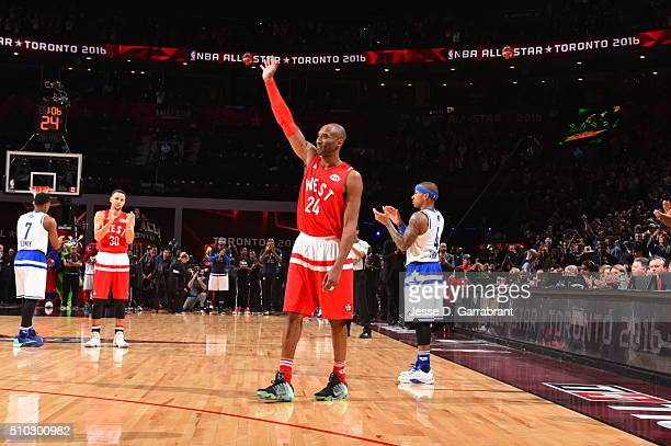 Kobe Bryant of the Western Conference AllStars waves to the crowd after his last AllStar Game in the NBA AllStar Game as part of the 2016 NBA All...