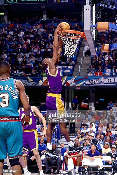 Kobe Bryant of the Western Conference attempts a dunk against the Eastern Conference during the 1997 Rookie Game played February 8 1997 at the Gund...