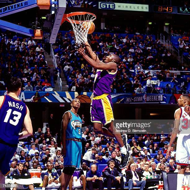 Kobe Bryant of the Western Conference attempts a layup against the Eastern Conference during the 1997 Rookie Game played February 8 1997 at the Gund...