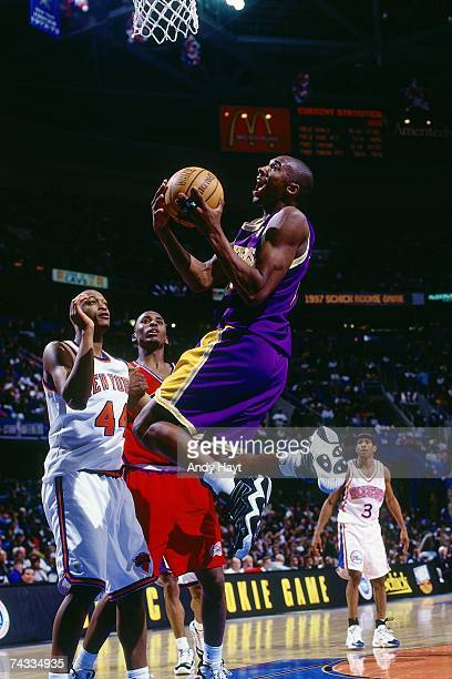 Kobe Bryant of the Western Conference attempts a layup during the 1997 Rookie AllStar game played February 8 1997 at the Gund Arena in Cleveland Ohio...