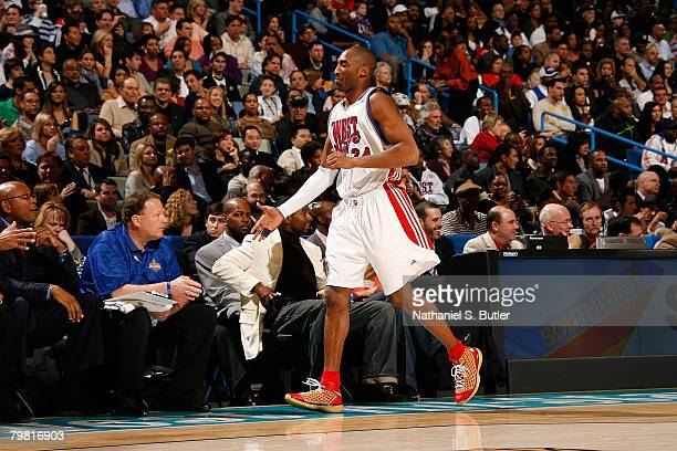 Kobe Bryant of the Western conference comes out of the game in the first quarter during the 2008 NBA AllStar Game part of 2008 NBA AllStar Weekend at...
