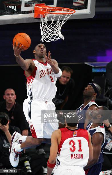 Kobe Bryant of the Western Conference goes in for a slam dunk during the 2007 NBA AllStar Game February 18 2007 at the Thomas Mack Center in Las...