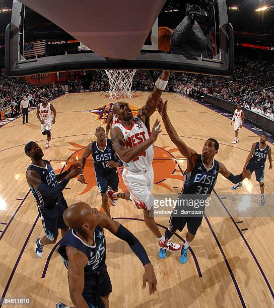 Kobe Bryant of the Western Conference goes up for a shot during the 58th NBA AllStar Game part of 2009 NBA AllStar Weekend at US Airways Center on...