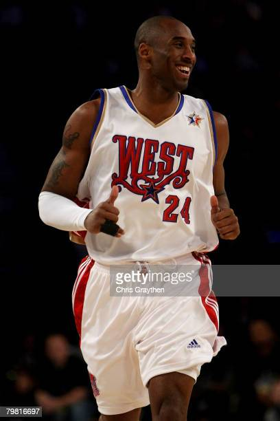 Kobe Bryant of the Western Conference smiles as he runs upcourt during the first quarter of the 57th NBA AllStar Game part of 2008 NBA AllStar...