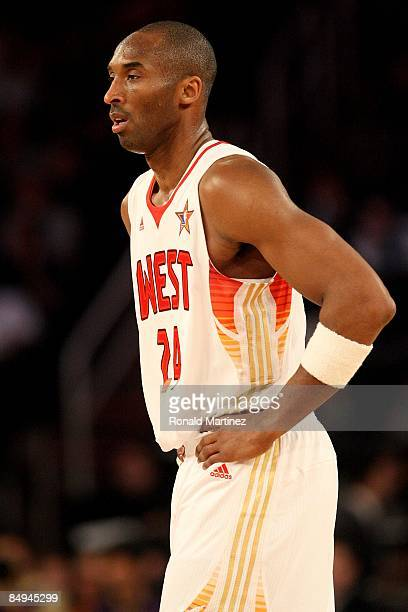 Kobe Bryant of the Western Conference walks across the court during the 58th NBA AllStar Game part of 2009 NBA AllStar Weekend at US Airways Center...