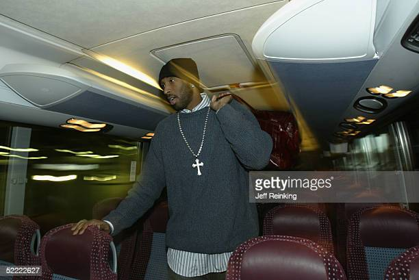 Kobe Bryant of the Western Conference walks off the bus as he arrives at the arena for the 54th AllStar Game part of 2005 NBA AllStar Weekend at...
