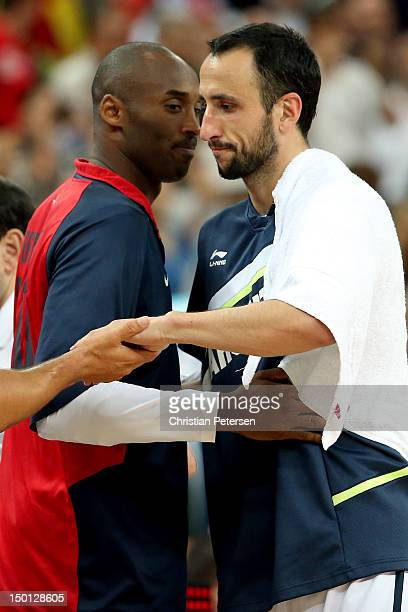 Kobe Bryant of United States and Manu Ginobili of Argentina shakes hands after the United States defeats Argentina 10983 during the Men's Basketball...