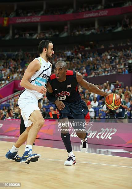 Kobe Bryant of United States handles the ball against Manu Ginobili of Argentina during the Men's Basketball semifinal match on Day 14 of the London...