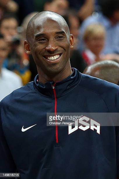 Kobe Bryant of United States smiles while taking on Tunisia during the Men's Basketball Preliminary Round match on Day 4 of the London 2012 Olympic...