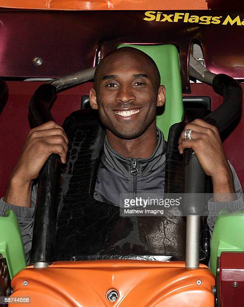 Kobe Bryant rides Tatsu the flying coaster at Six Flags Magic Mountain on June 28 2009 in Valencia California