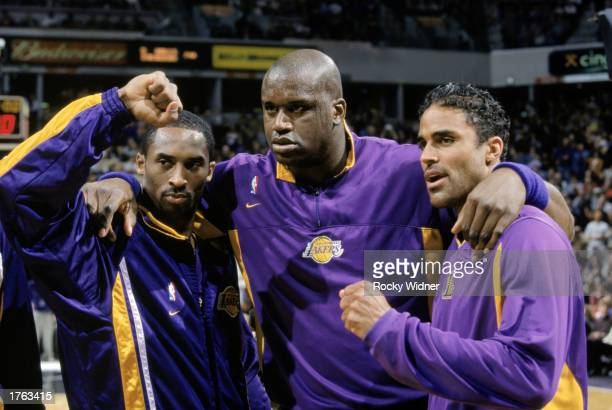 Kobe Bryant, Shaquille O'Neal and Rick Fox of the Los Angeles Lakers pose before the NBA game against the Sacramento Kings at Arco Arena on January...