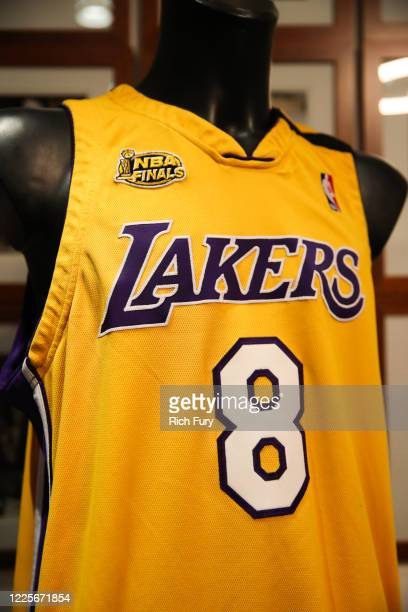 Kobe Bryant signed and game worn jersey is displayed at a press preview for sports legends featuring Kobe Bryant, FIFA and Olympic Medals at Julien's...