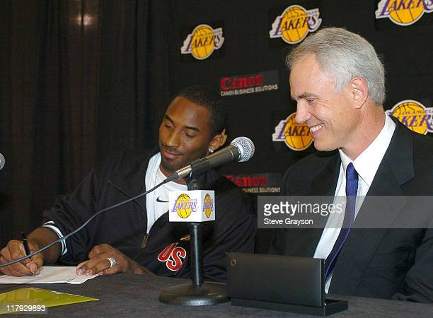 Kobe Bryant signs a contract to remain with the Los Angeles Lakers in a sevenyear deal for the NBA's league maximum of $136 million as the Lakers...