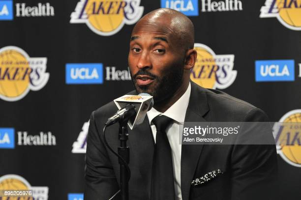 Kobe Bryant speaks at a press conference prior to a basketball game between the Los Angeles Lakers and the Golden State Warriors at Staples Center on...