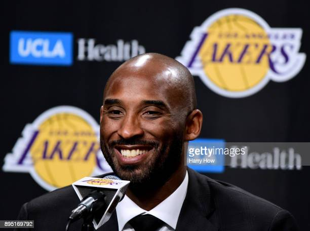 Kobe Bryant speaks to the media at a press conference before his and jerseys are retired by the Los Angeles Lakers at Staples Center on December 18...