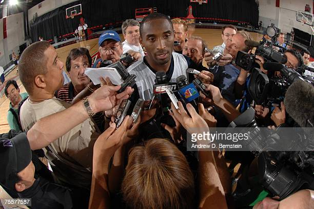 Kobe Bryant speaks to the media during the first day of practice for the USA Men's Senior National Basketball Team at Cox Pavilion July 20 2007 in...