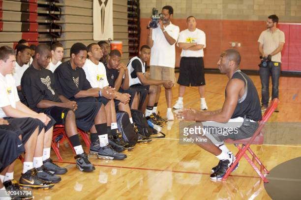 Kobe Bryant speaks to the top 20 High School shooting guards as part of the Kobe Bryant Skills Academy sponsored by Nike at Mater Dei High School in...