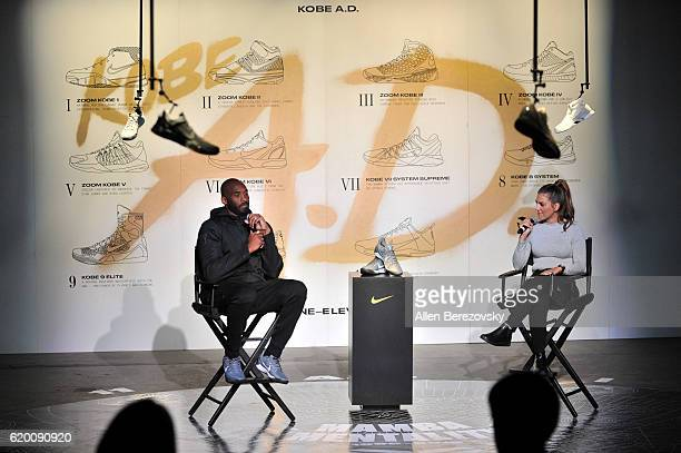 Kobe Bryant speaks with Liz Hernandez during a Kobe AD event at MAMA Gallery on November 1 2016 in Los Angeles California