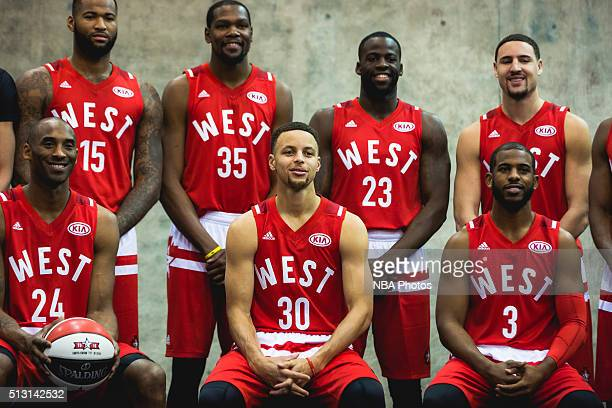 Kobe Bryant Stephen Curry and Chris Paul of the West team poses for a portrait prior to the NBA AllStar Game as part of the 2016 NBA AllStar Weekend...