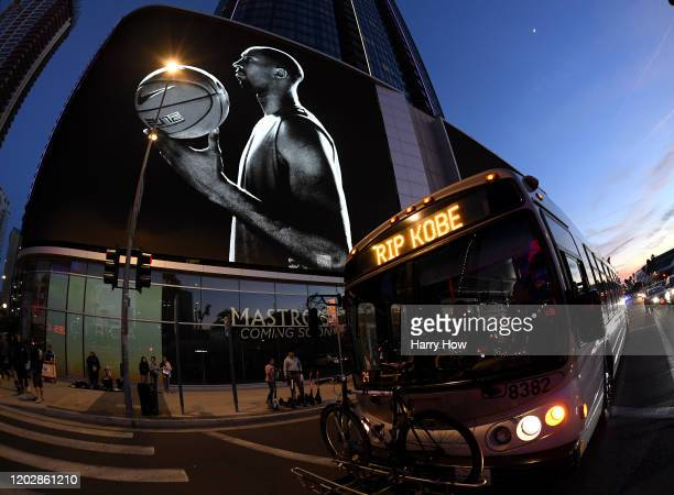 Kobe Bryant tribute on the side of a building and on the Metro bus in downtown Los Angeles before the game between the Tampa Bay Lightning and the...