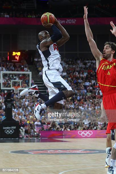 Kobe Bryant, USA, in action during the Men's Basketball Final between USA and Spain at the North Greenwich Arena during the London 2012 Olympic...