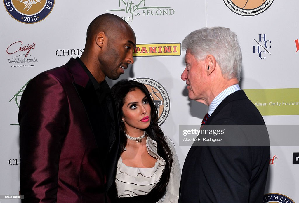 Kobe Bryant, Vanessa Bryant and President Bill Clinton attend the grand opening of STEP UP ON VINE on January 14, 2013 in Los Angeles, California.