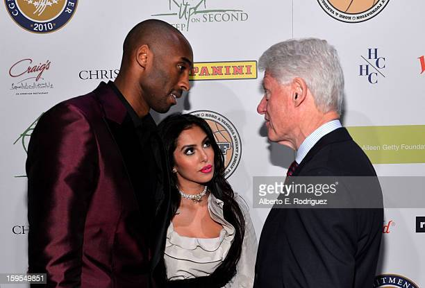 Kobe Bryant Vanessa Bryant and President Bill Clinton attend the grand opening of STEP UP ON VINE on January 14 2013 in Los Angeles California