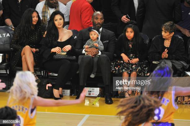Kobe Bryant wife Vaness Bryant and daughters Gianna Maria Onore Bryant Natalia Diamante Bryant and Bianka Bella Bryant attend a basketball game...