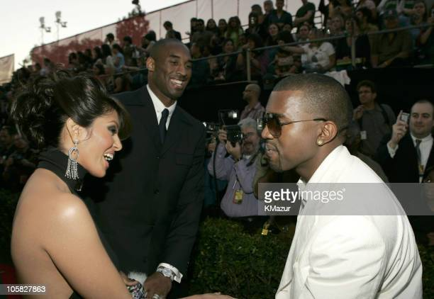 Kobe Bryant wife Vanessa and Kanye West during 32nd Annual American Music Awards Red Carpet at Shrine Auditorium in Los Angeles California United...