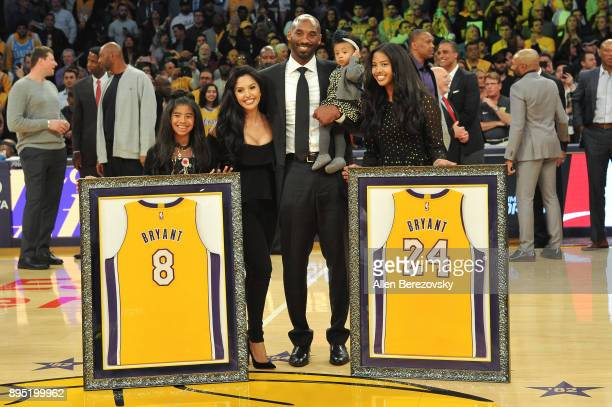 Kobe Bryant, wife Vanessa Bryant and daughters Gianna Maria Onore Bryant, Natalia Diamante Bryant and Bianka Bella Bryant attend Kobe Bryant's jersey...