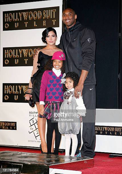 Kobe Bryant wife Vanessa Bryant and daughters Natalia Diamante Bryant and Gianna MariaOnore Bryant attend the Kobe Bryant hand and footprint ceremony...