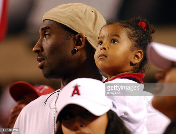 Kobe Bryant with daughter Natalia Diamante Bryant at Los Angeles Angels of Anaheim game against the New York Yankees at Angel Stadium in Anaheim...