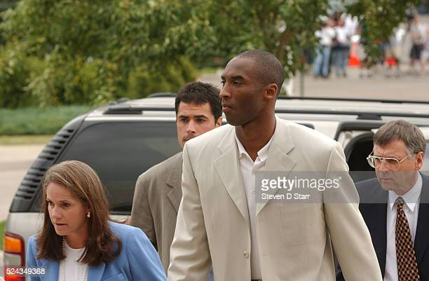 Kobe Bryant with his attorney Pamela Mackey and Hal Haddon arrives at the Eagle County Courthouse for arraignment Bryant requested a hearing in court...