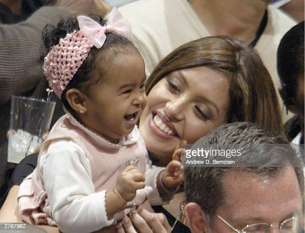 Kobe Bryant's daughter Natalia Diamonte and wife Vanessa at the Los Angeles Lakers game against the San Antonio Spurs at Staples Center on November...