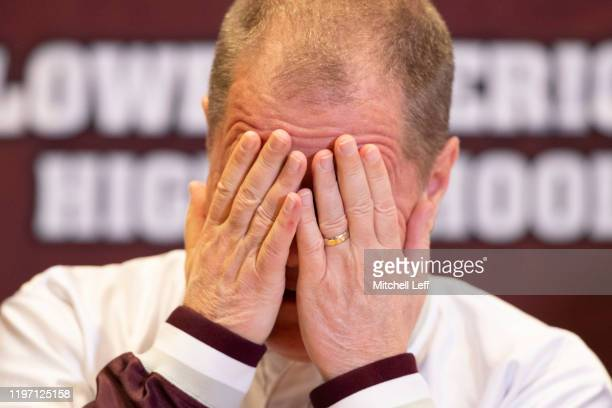 Kobe Bryant's former basketball coach Gregg Downer of Lower Merion High School reacts when speaking to the media about the passing of Kobe Bryant in...