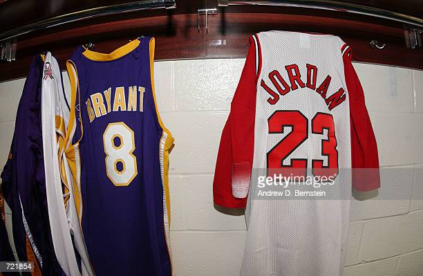 Kobe Bryant's jersey hangs next to Michael Jordan's jersey in the Los Angeles Lakers locker room prior to game four of the 2002 NBA Finals against...
