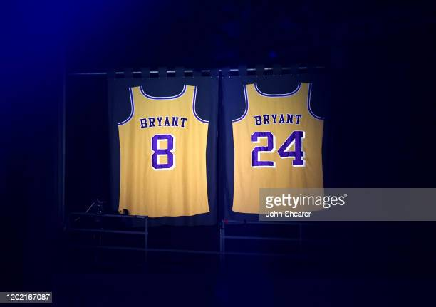 Kobe Bryant's jerseys are seen at the 62nd Annual GRAMMY Awards on January 26 2020 in Los Angeles California